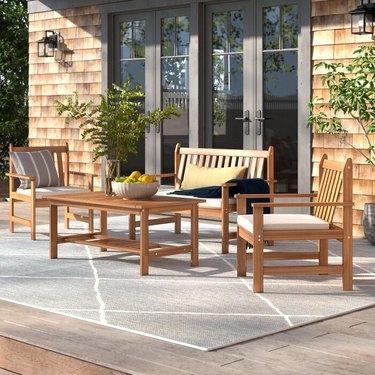 Lark Manor Joliet 4 Piece Sofa Seating Group with Cushions