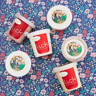 lick honest ice cream pint on floral backdrop