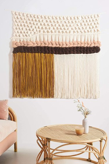 colorful macrame wall textile hanging