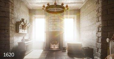 rendering of 1620s bathroom interior
