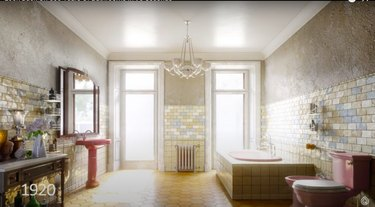 rendition of 1920s bathroom interior