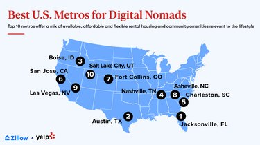 U.S. map showing top 10 digital nomad cities