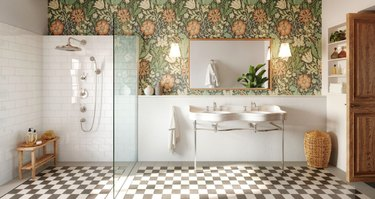 Bathroom with checkered floor and flower wallpaper