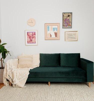 sabai green velvet sofa