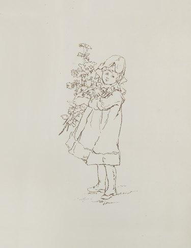 artwork of child holding flowers