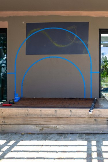 Taped-off areas for outdoor mural
