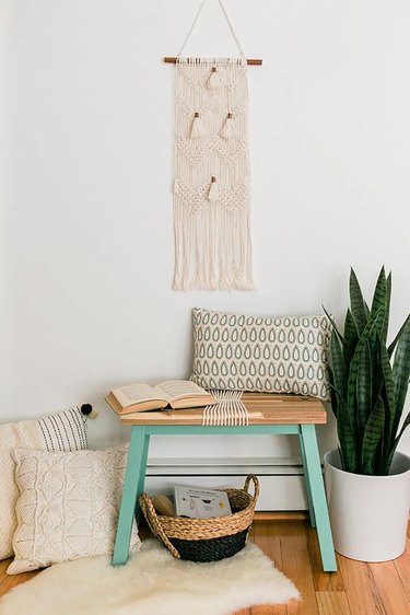 DIY IKEA bench with turquoise legs