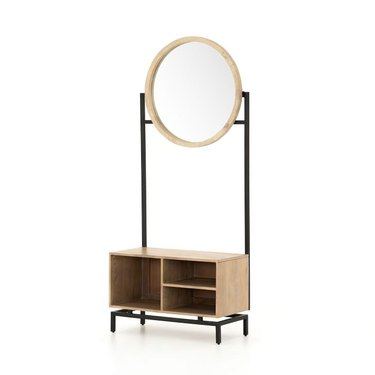 Small Entryway Storage Bench mirror