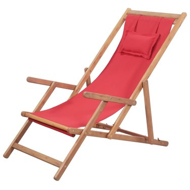 Folding Beach Chair Fabric and Wooden Frame Red