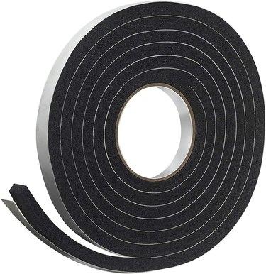 Black foam rubber tape used as weatherstripping
