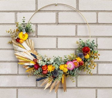 spring floral wreath with exposed wire