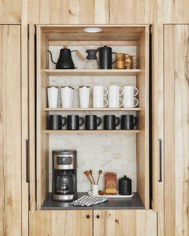 coffee appliance garage in paneled oak kitchen
