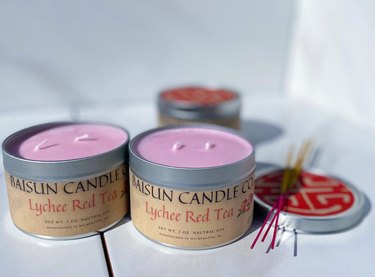 Baisun Candle Co. lychee red tea candle