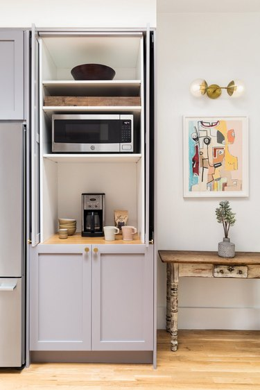 customized IKEA kitchen with appliance garage