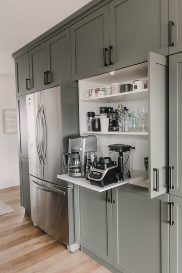modern gray kitchen with DIY pull out appliance garage