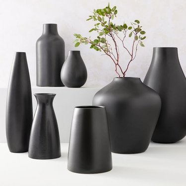 West Elm Pure Black Ceramic Vases