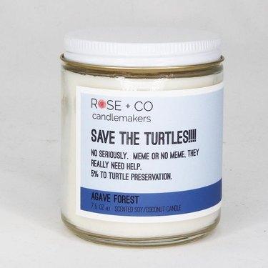 Johanna Howard Home save the turtles candle