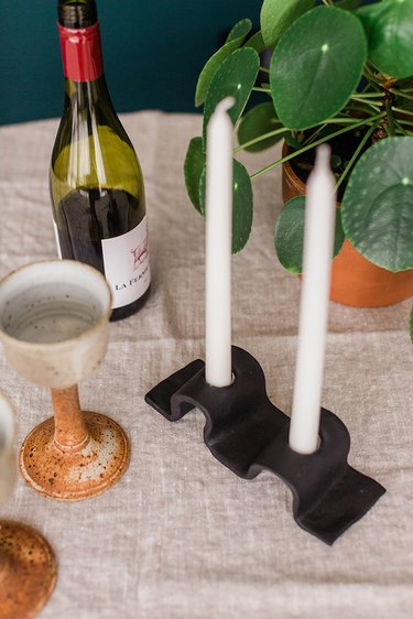 Dripless candles mean you can set this DIY candleholder up right on top of your tablecloth.