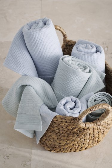 pastel blue towels