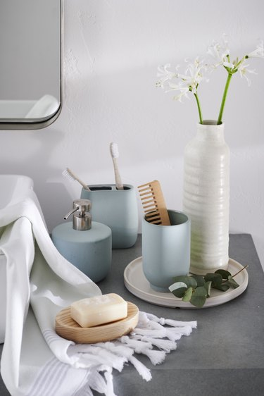 matte, pale blue bathroom essentials