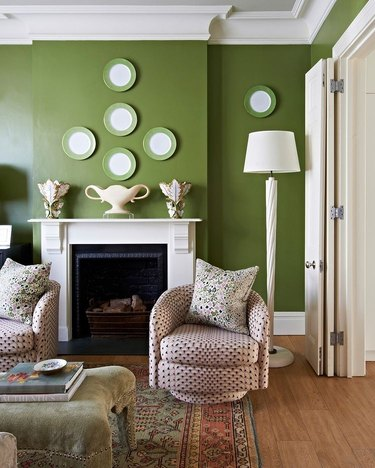 green and white plates on green wall