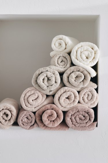 pastel pink and neutral towels