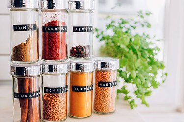 Assorted spice jars