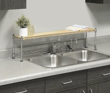 chrome and wood over the sink shelf