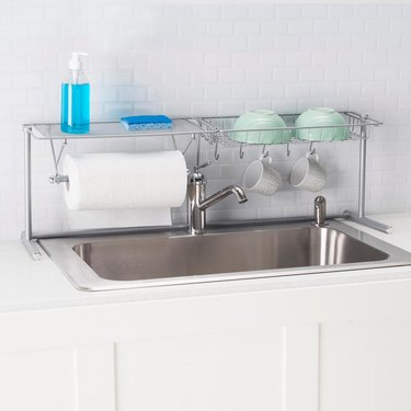 over the sink drying rack with paper towel holder