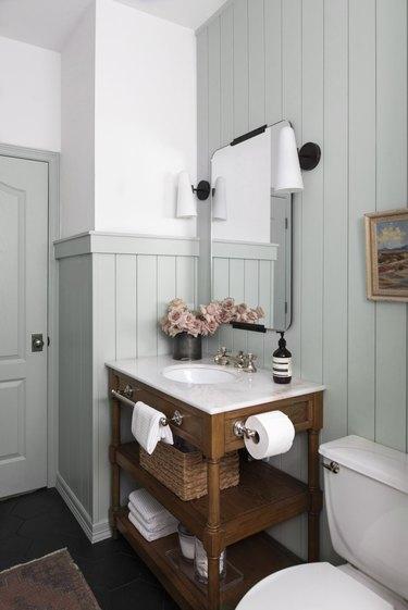 duck egg blue farmhouse bathroom with upcycled vanity