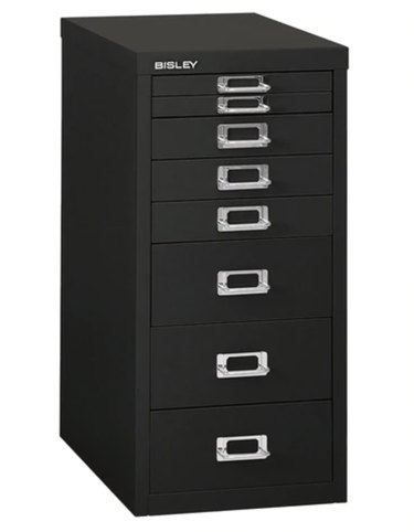 Black Steel 8-Drawer Under-Desk Cabinet