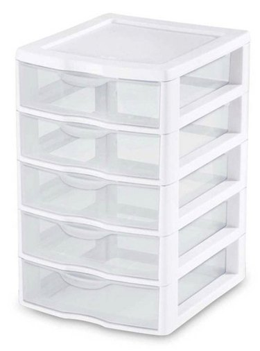 Clear 5 Drawer Desktop Storage System