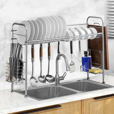 over the sink dish drying rack with hanging hooks