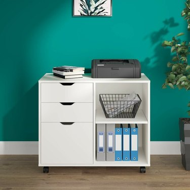White Mobile Lateral Filing Cabinet
