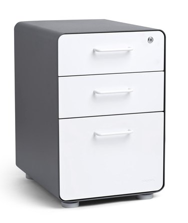 Poppin Charcoal and White 3-Drawer File Cabinet