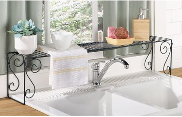 extendable wrought iron scroll over the sink storage shelf