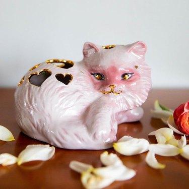 make good choices pink cat vase