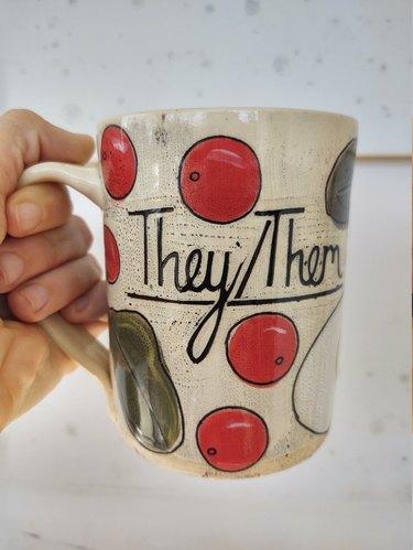 Rosa Friedrichs ceramics they/them pronoun mug