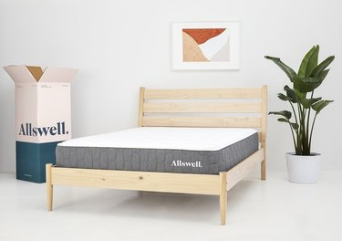 allswell mattress on wood bed frame