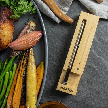 meater thermometer and plate of vegetables