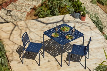 blue outdoor table and chairs