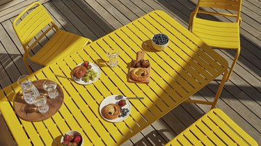 yellow outdoor table and chairs