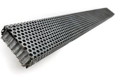 A silver strip soffit vent