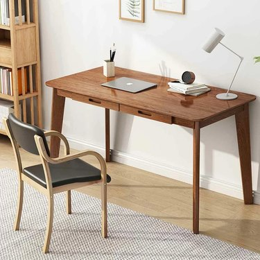 wood Scandinavian desk with two drawers and Nordic chair