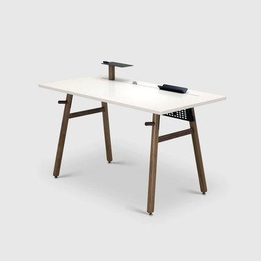 sitting or standing Scandinavian desk with wood legs and white top