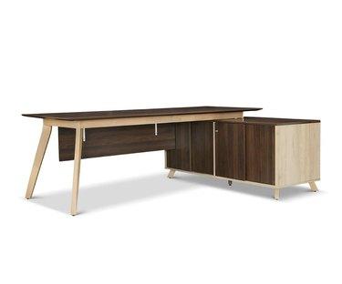 large Scandinavian desk with storage cabinet