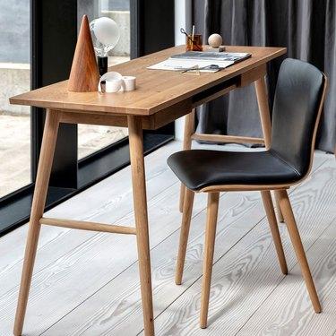 solid wood Scandinavian desk with Danish office chair
