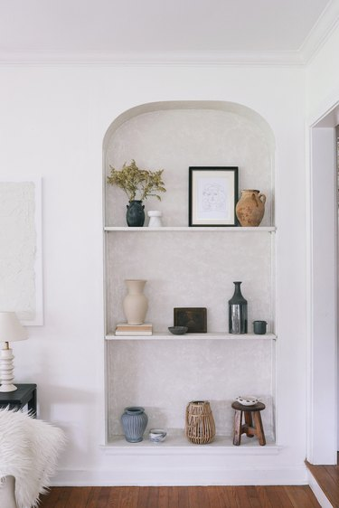 DIY Roman Clay applied to built-in shelves