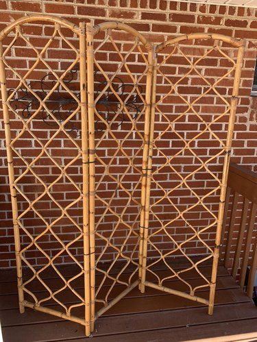 vintage bamboo arched folding screen