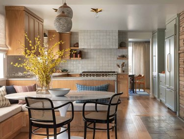 midcentury kitchen with flush mount ceiling light